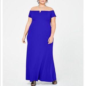 Calvin Klein Off the Shoulder Royal Blue Gown